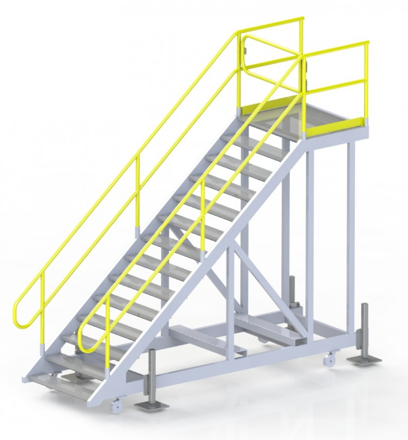 2.8m high movable steps with stabilizing jacks and swing gate
