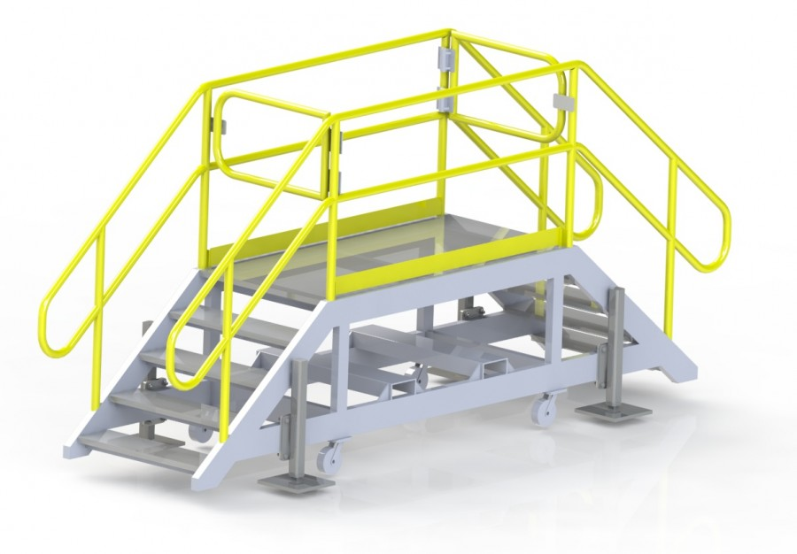 Movable steps with stabilizing jacks