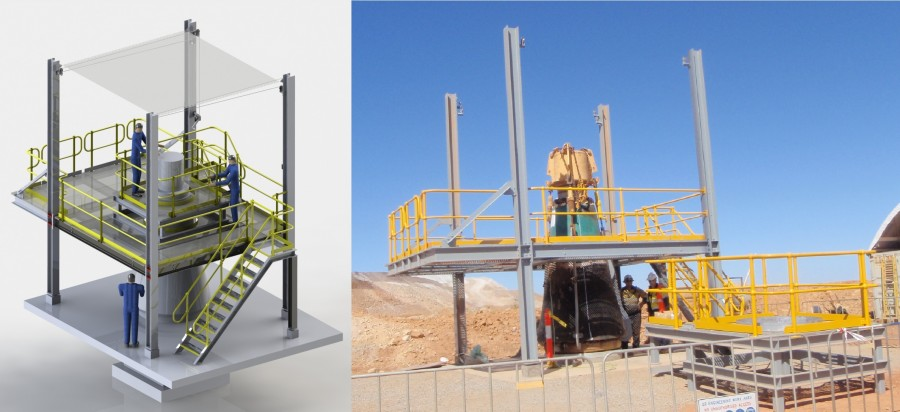 Crusher mainshaft maintenance platform 3d model and actual platform