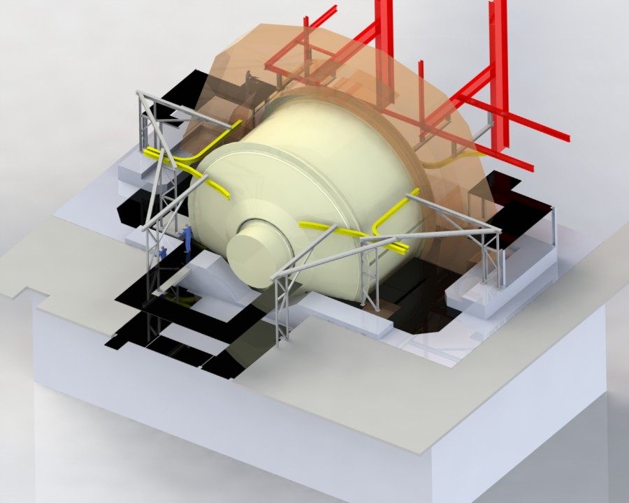 3D model of mill maintenance monorail system