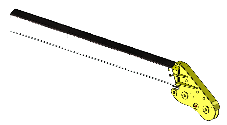 Design of crane attachment, shown connected to the boom