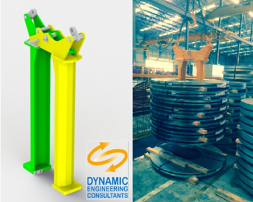 5T coil lifter: 3D model and actual lifting in action