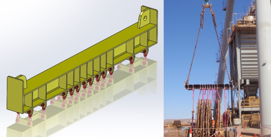 35T lifting beam: 3D model and actual beam in operation