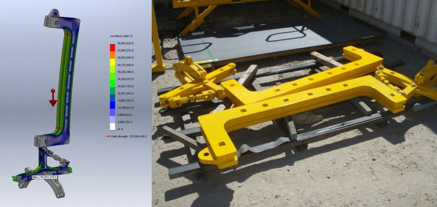 5T articulated alternator lifter: stress plot and actual lifter